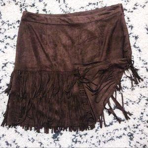 Lane Bryant Fringe Brown Skirt